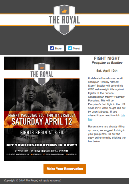 The Royal NYC Pacquiao vs Bradley dedicated email