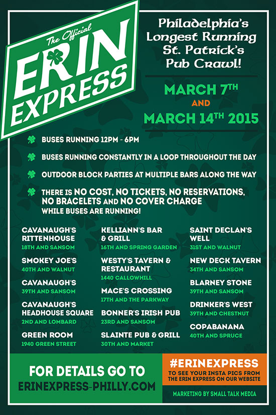 Erin Express Philadelphia St. Patricks Day Bar Crawl 2015